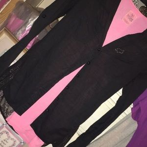 FOX RACING BLACK/See thru lace back/button up/SM